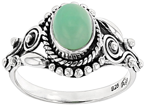 Photo of Artisan Gem Collection Of India, 8x6mm Oval Cabochon Serbian Green Opal Silver Solitaire Ring - Size 12
