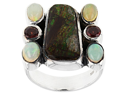 Photo of Artisan Gem Collection Of India, Ammolite Doublet, Vermelho Garnet™, Ethiopian Opal Silver Ring - Size 6