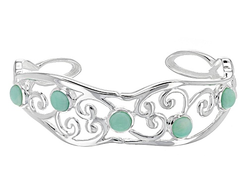 Photo of Artisan Gem Collection Of India, 7mm Round Cabochon Serbian Green Opal Sterling Silver Cuff Bracelet