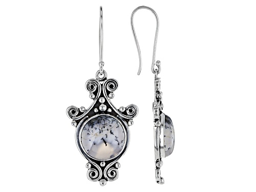 Photo of Artisan Gem Collection Of India, 15mm Round Cabochon Dendritic Opal Sterling Silver Dangle Earrings