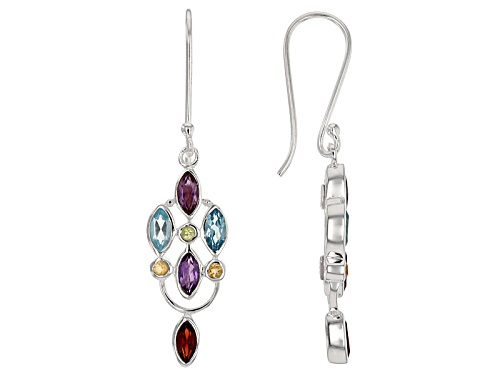 Photo of Artisan Gem Collection Of India™, 2.66ctw Multi-Gem Sterling Silver Dangle Earrings