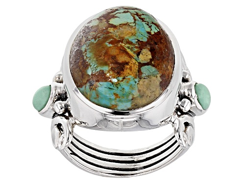 Photo of Artisan Gem Collection Of India, 20x15mm Oval Boulder Turquoise And Green Serbian Opal Silver Ring - Size 6