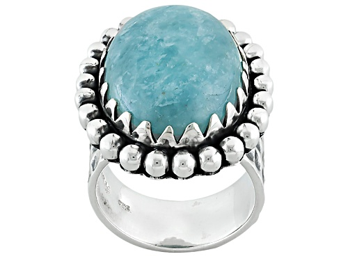 Photo of Artisan Gem Collection Of India, 20x15mm Oval Cabochon Aquamarine Sterling Silver Solitaire Ring - Size 8