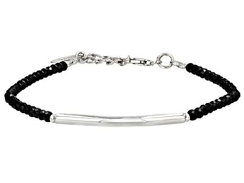 Artisan Gem Collection Of India, Approximately 14.18ctw Rondelle Black Spinel Silver Bar Bracelet