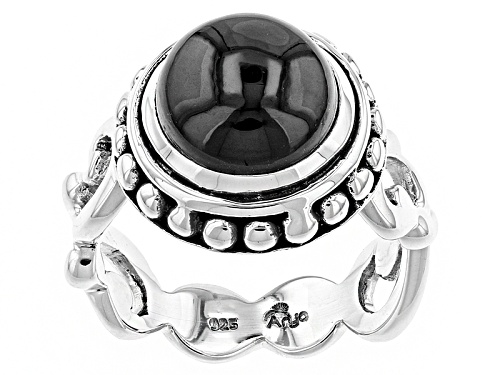 Photo of Artisan Gem Collection Of India, 10mm Round Cabochon Black Spinel Sterling Silver Solitaire Ring - Size 12