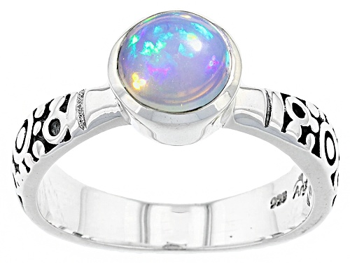Photo of Artisan Gem Collection Of India, .79ct Round Ethiopian Opal Sterling Silver Solitaire Ring - Size 8