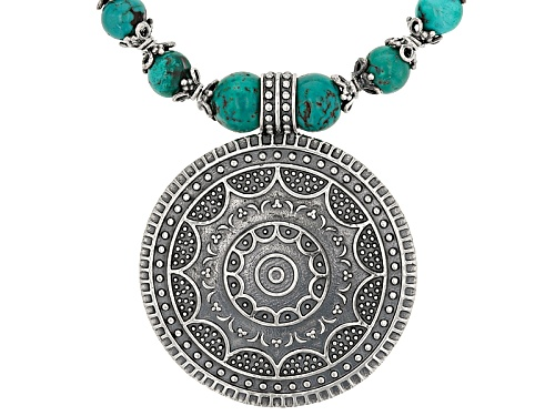 Photo of Artisan Collection Of India™ 8-9mm Round Turquoise Bead Sterling Silver Tribal Statement Necklace - Size 18
