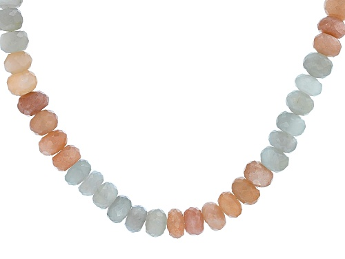 Photo of Artisan Gem Collection Of India, 7mm-9mm Rondelle Multi-Moonstone Bead Silver Necklace - Size 18