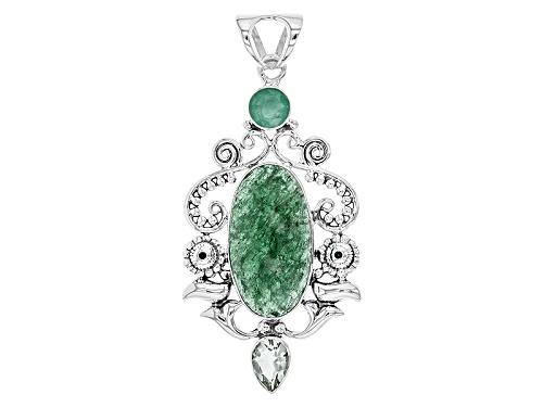 Photo of Artisan Of India, 30x15mm Aventurine Quartz, 1.58ct Emerald, And 1.67ct Prasiolite Silver Pendant