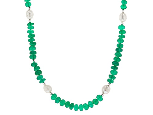 Photo of Artisan Collection Of India™ Rondelle Green Onyx Bead & Cultured Freshwater Pearl Silver Necklace - Size 24