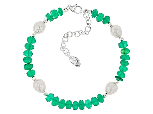 Photo of Artisan Collection Of India™ Rondelle Green Onyx Bead, Cultured Freshwater Pearl Silver Bracelet - Size 8
