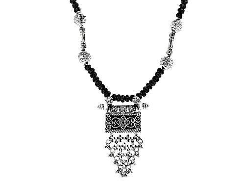 Photo of Artisan Collection Of India™ Approxmately 151.00ctw Black Spinel Bead Silver Floral Necklace - Size 18