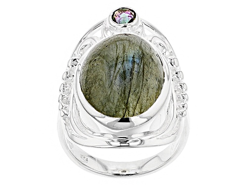 Photo of Artisan Collection Of India™ 18x13mm Oval Labradorite And .20ct Mystic Quartz® Silver Ring - Size 5