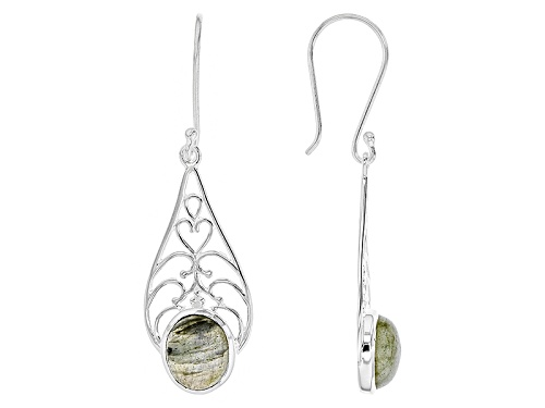 Photo of Artisan Collection Of India™ 12x10mm Oval Cabochon Labradorite Silver Dangle Earrings