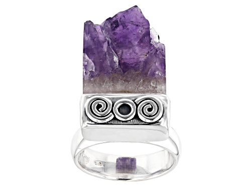 Artisan Collection Of India™  Free Form Amethyst Stalactite Silver Solitaire Ring - Size 6