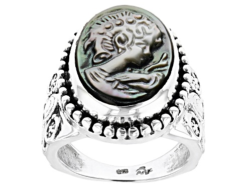 Photo of Artisan Collection Of India™ 18x13mm Oval Carved Mother Of Pearl Cameo Sterling Silver Ring - Size 8