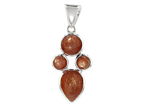 Photo of Artisan Collection of India™ Round And Pear Shape Sunstone Silver Drop Pendant