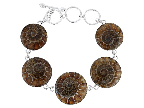 Photo of Artisan Collection Of India™  22mm-26mm Round Ammonite Sterling Silver Bracelet - Size 8