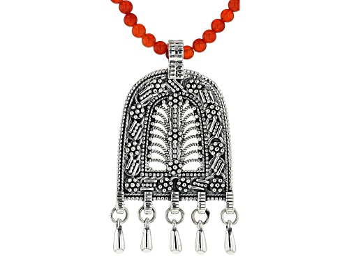 Photo of Artisan Collection Of India™ 4mm Round Carnelian Bead Necklace And Silver Tribal Pendant - Size 18