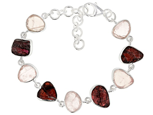 Photo of Artisan Collection Of India™, Rose Quartz And Red Garnet Rough Sterling Silver Bracelet - Size 7.5