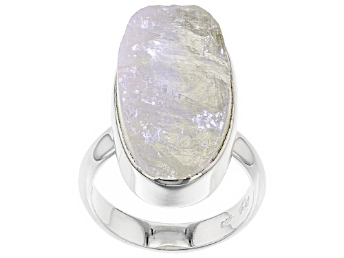 Photo of Artisan Gem Collection Of India, Free-Form Rainbow Moonstone Rough Sterling Silver Solitaire Ring - Size 6