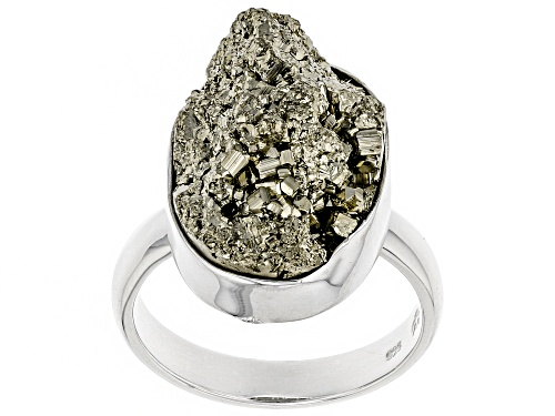 Photo of Artisan Gem Collection Of India, Free-Form Drusy Pyrite Rough Sterling Silver Solitaire Ring - Size 12