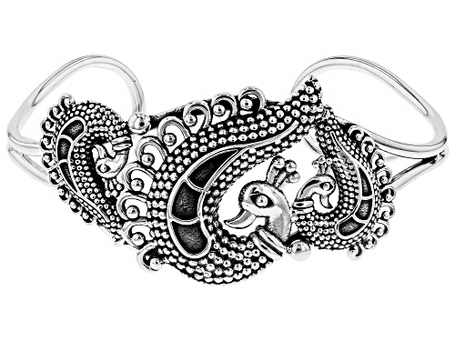 Photo of Artisan Collection of India, Sterling Silver Peacock Cuff Bracelet - Size 7