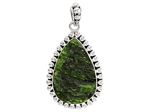Photo of Artisan Collection Of India™ 30x20mm Pear Shape Rough Chrome Diopside Silver Pendant