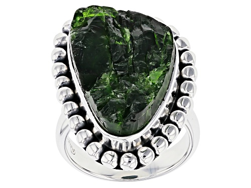 Photo of Artisan Collection Of India™  Custom Shape Rough Chrome Diopside Silver Solitaire Ring - Size 6
