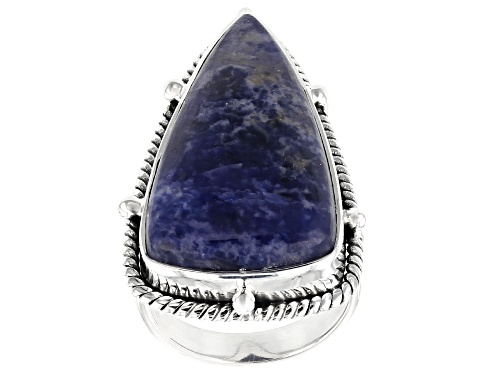 Photo of Artisan Collection Of India™ 30x16mm Fancy Triangle Shape Sodalite Silver Solitaire Ring - Size 7