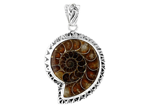 Artisan Collection Of India™ Custom Shape Ammonite Shell Sterling Silver Pendant