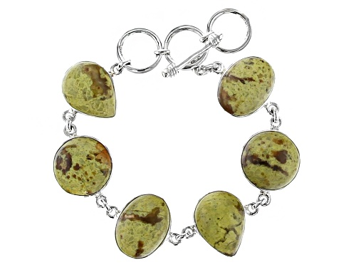 Photo of Artisan Collection Of India™ Oval, Round, And Pear Shape Green Opal Sterling Silver Bracelet - Size 7.25