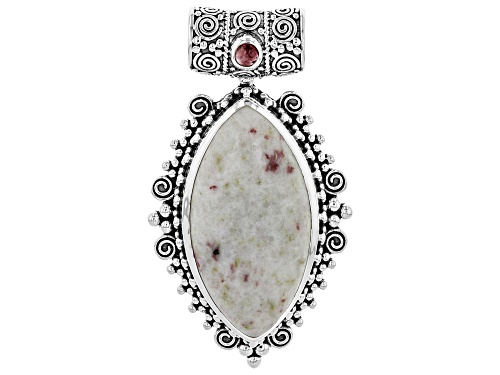 Photo of Artisan Collection Of India™ 40x20mm Marquise Rosalinda & .27ct Round Pink Tourmaline Silver Pendant