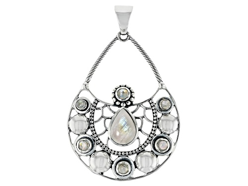 Photo of Artisan Collection Of India™ 14x10mm Pear Shape W/3 & 4mm Round Rainbow Moonstone Silver Pendant
