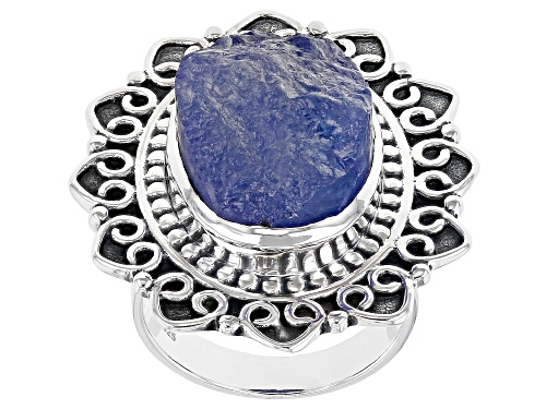 Photo of Artisan Collection Of India™ 18x13mm Oval Tanzanite Rough Solitaire Sterling Silver Ring - Size 9