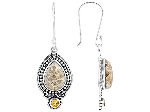 Photo of Artisan Collection of India™ Pear Shape Fossilized Coral & 0.54ctw Round Citrine Silver Earrings