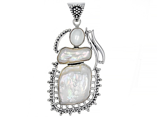 Photo of Artisan Collection Of India™ Oval And Free-Form Cultured White Freshwater Pearl Silver Pendant