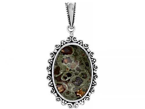 Photo of Artisan Collection of India™ 30x20mm Oval Rainforest Jasper Cabochon Silver Pendant