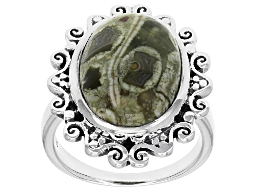 Photo of Artisan Collection Of India™ 16x12mm Oval Rainforest Jasper Cabochon Silver Solitaire Ring - Size 8