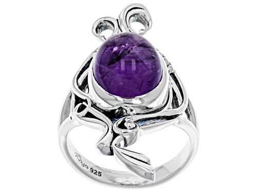 Photo of Artisan Collection of India™ 12x10mm Oval Amethyst Cabochon Sterling Silver Solitaire Ring - Size 8