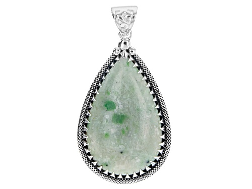 Photo of Artisan Collection of India™ 25x10mm Pear Shape Green Garnet In Matrix Sterling Silver Pendant