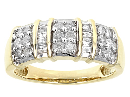 Photo of .50ctw Round And Baguette White Diamond 10k Yellow Gold Band Ring - Size 6