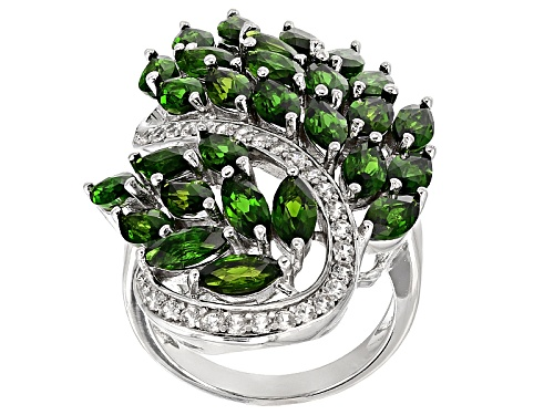 Photo of 7.72ctw Marquise Chrome Diopside With .50ctw Round White Zircon Sterling Silver Cocktail Ring - Size 5
