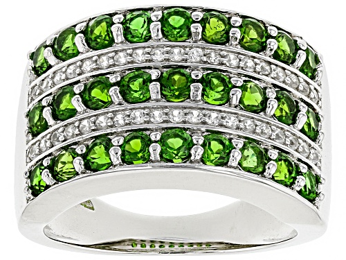 Photo of 1.77ctw Round Chrome Diopside With .21ctw White Zircon Sterling Silver Ring - Size 7