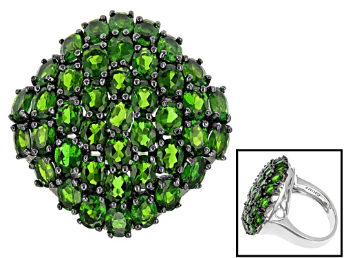 Photo of 5.92ctw Oval Russian Chrome Diopside Sterling Silver Ring - Size 4