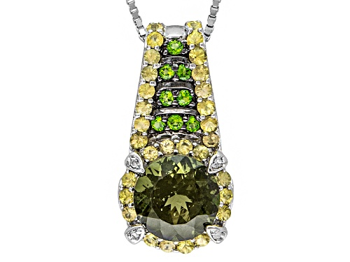 Photo of 1.25ct Moldavite, 1.05ctw Chrome Diopside, Yellow Sapphire, 4 Diamond Accent Silver Pendant W/Chain
