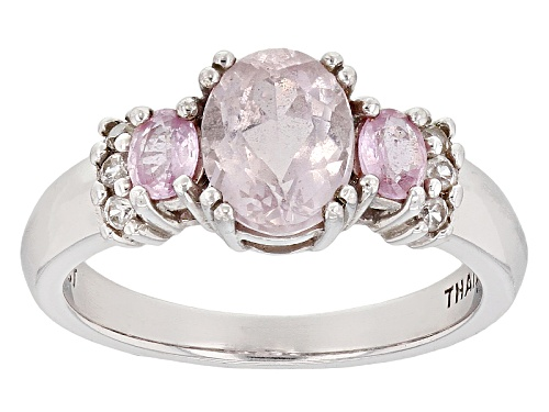 Photo of 1.48ct Kunzite, .38ctw Pink Sapphire With .12ctw Round White Zircon Sterling Silver Ring - Size 12