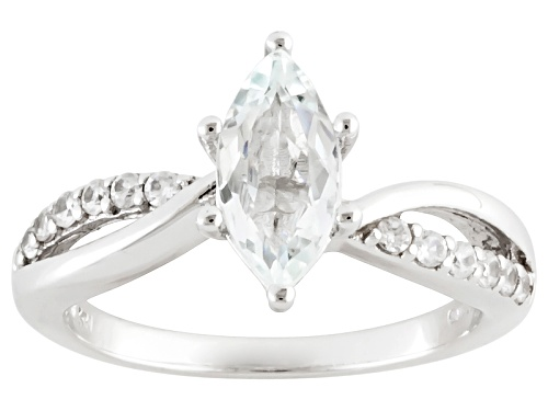 Photo of .77ct Marquise Brazilian Aquamarine With .23ctw Round White Zircon Sterling Silver Ring - Size 12