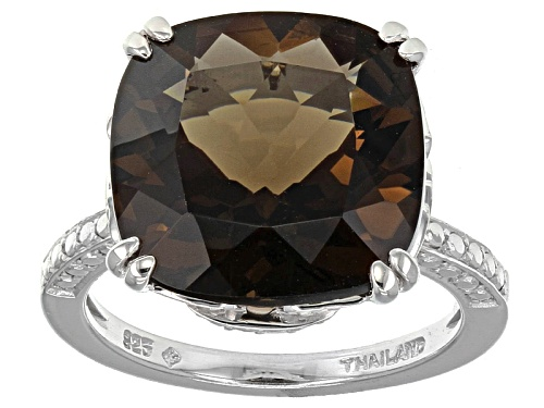 Photo of 7.55ct Square Cushion Brazilian Smoky Quartz Sterling Silver Ring - Size 10