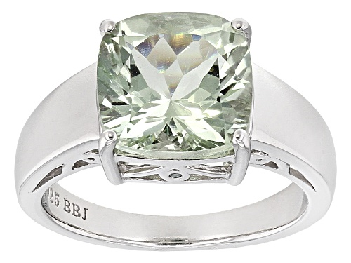Photo of 3.64ct Square Cushion Prasiolite With .01ctw Two Green Diamond Accent Sterling Silver Ring - Size 12
